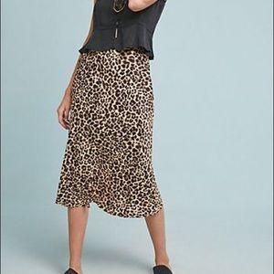Anthropologie Leopard Midi Skirt